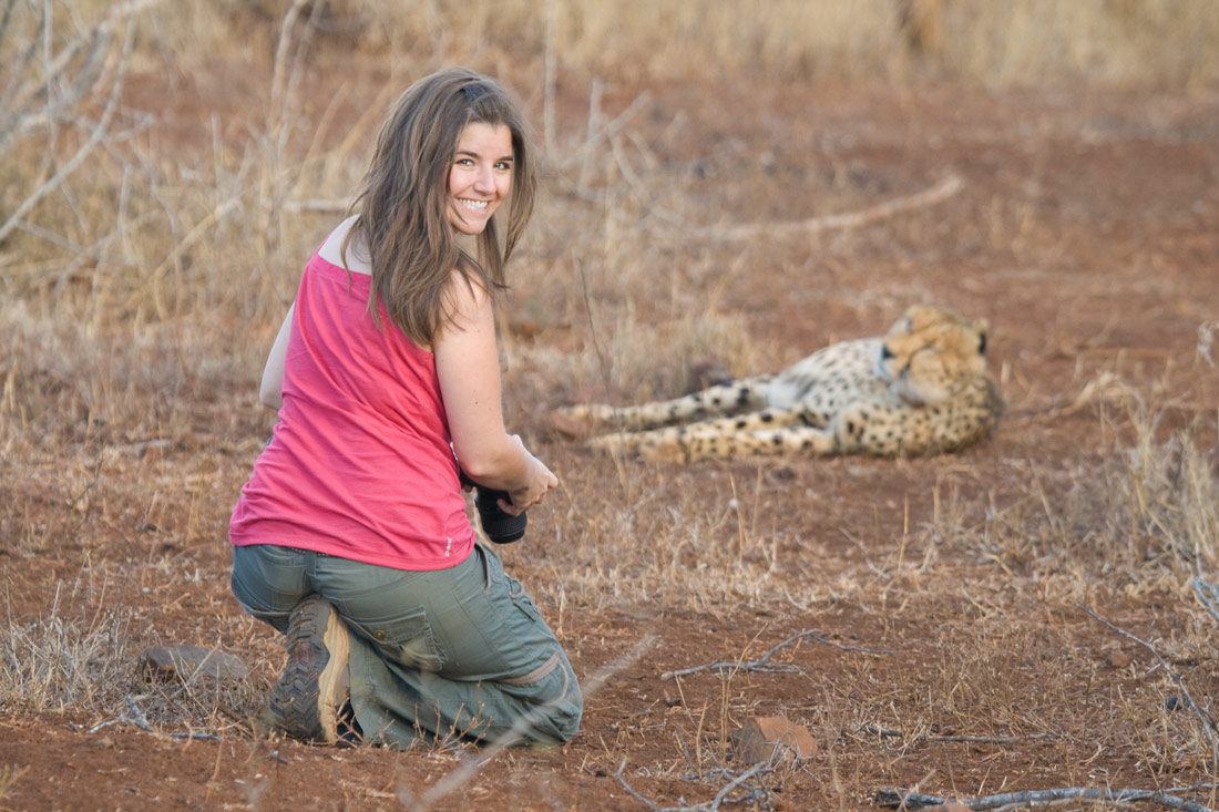 Cristina and a cheetah, South Africa