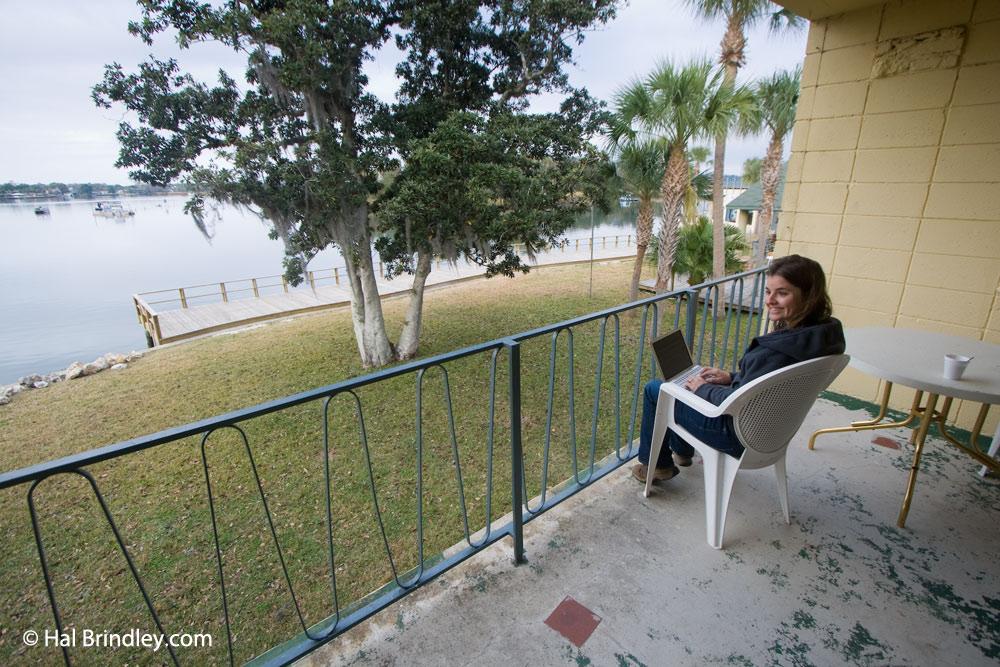 Port Hotel balcony overlooking King Spring