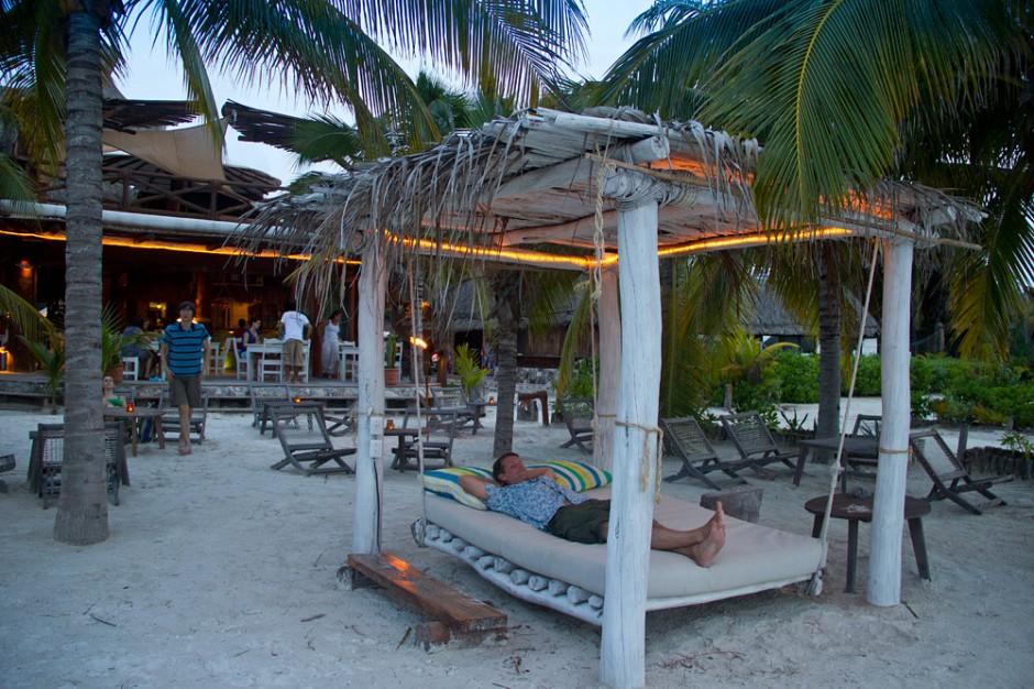 Beach bed at dusk