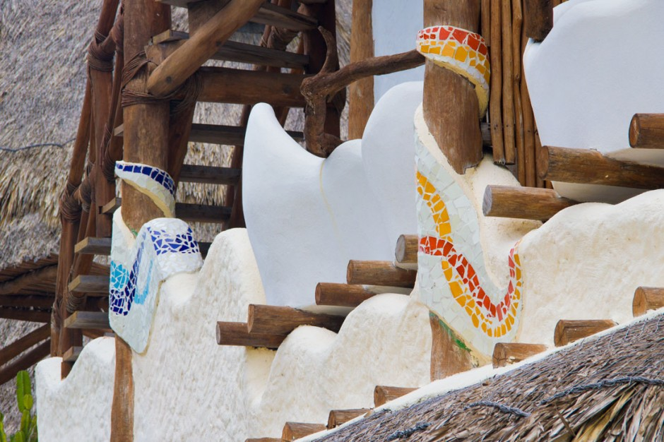 Colorful mosaics reminiscent of Gaudi's style