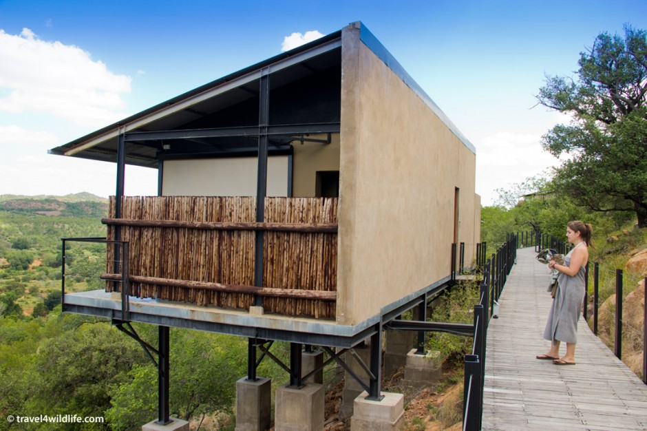 Each room at The Outpost is a separate unit on stilts overlooking the river.