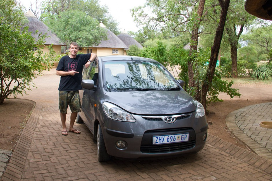 Even the cheapest, tiniest rental car is perfectly sufficient in Kruger, like our Hyundai i10