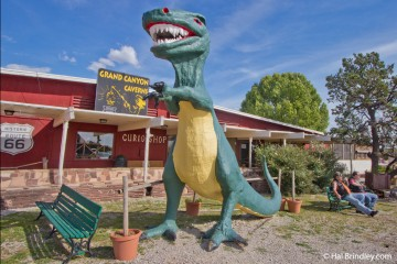 Two species sighted on Route 66: dinosaurs and bikers.