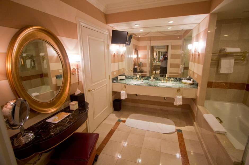 My bathroom at the Venetian in Vegas. Note the television.