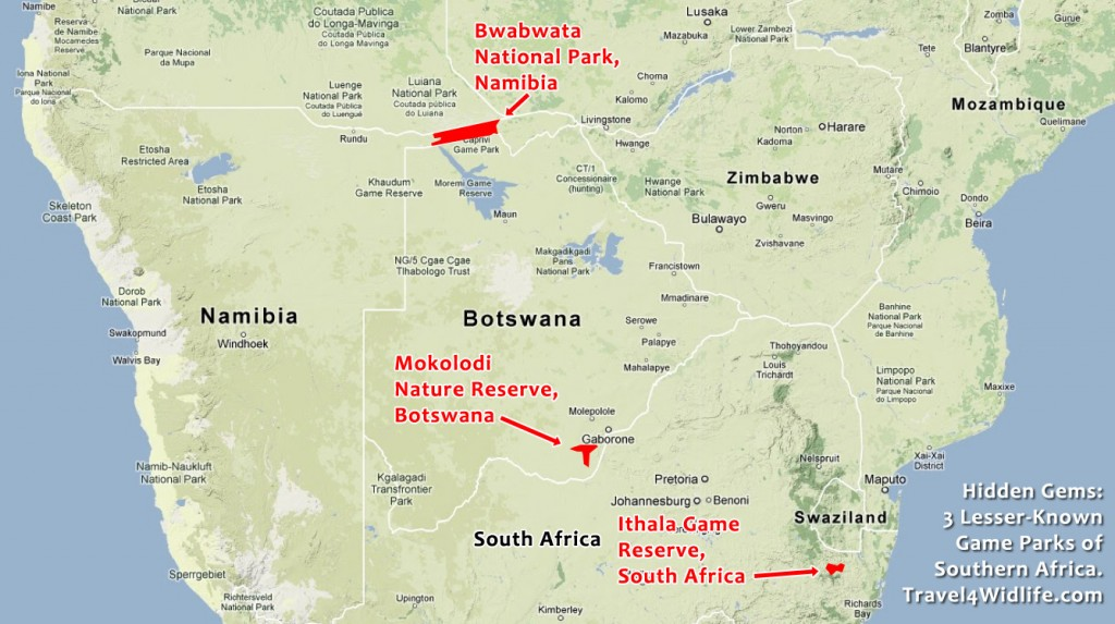 Location of Mokolodi, Ithala and Bwabwata within Southern Africa. Google Maps - ©2012 Google