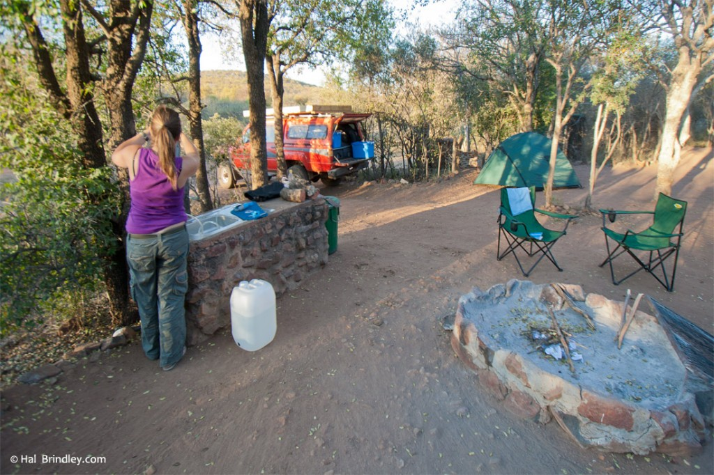 Cozy private campsite at Mokolodi (it comes with a sink!)