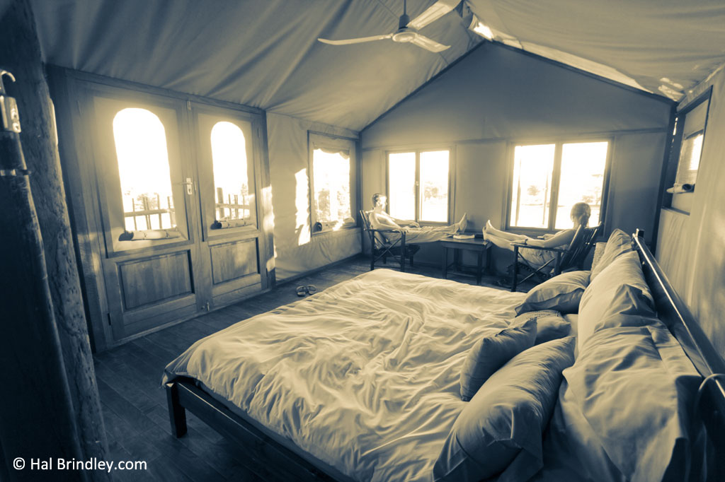 The Kalahari Tented Camp combines the feel of a classic safari tent with modern amenities.