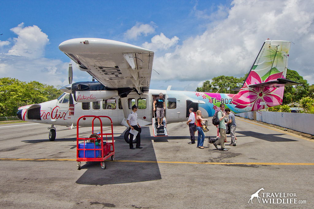 The colorful Nature Air plane arriving in Puerto Jimenez
