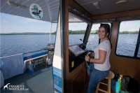 Cristina at the helm of our floating house.