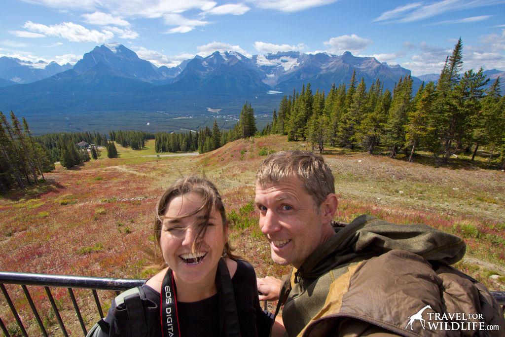 Cristina and Hal excited to have seen a grizzly bear at the Lake Louise Gondola