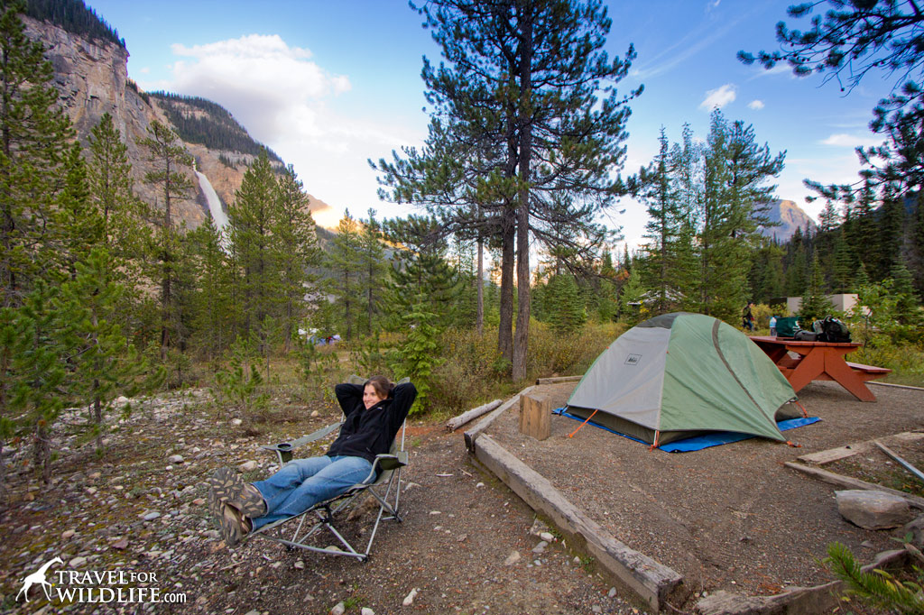 Takakkaw Falls campground with the falls behind us