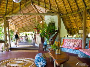 Colorful main area at Finca Exotica