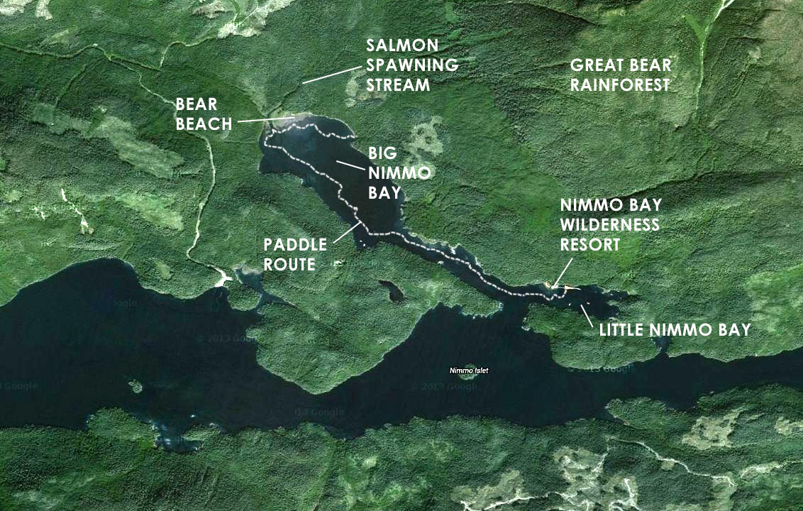 Satellite map of kayaking route to Big Nimmo Bay, British Columbia