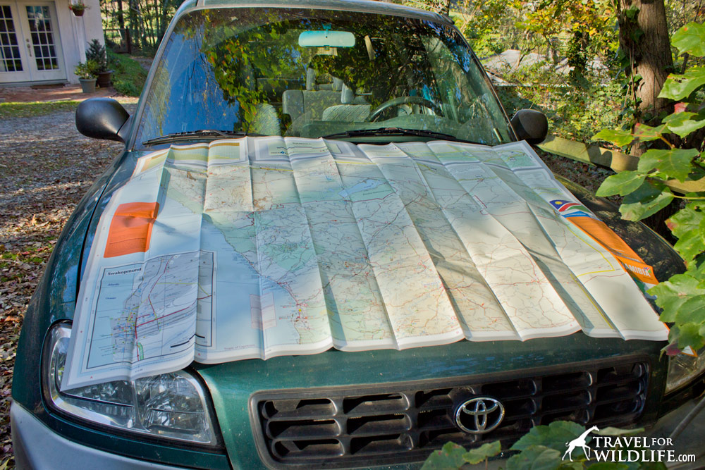 The Namibia road map is pretty easy to handle. It fits on the hood of the car!