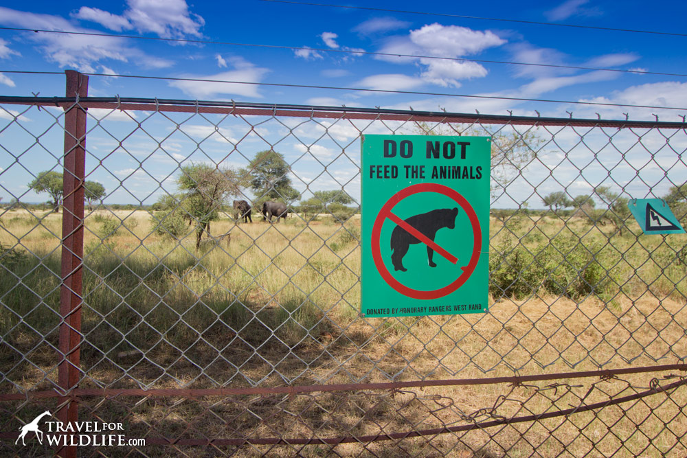 Do not feed wildlife sign in Kruger South Africa