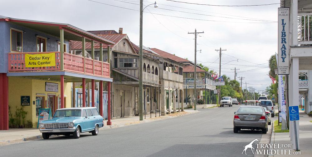 A photo of the main street in Cedar Key Florida