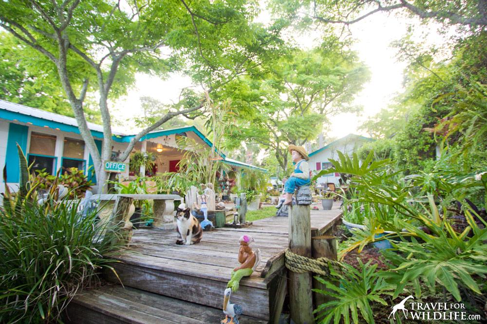 The courtyard of the Faraway Inn, Cedar Key, Florida