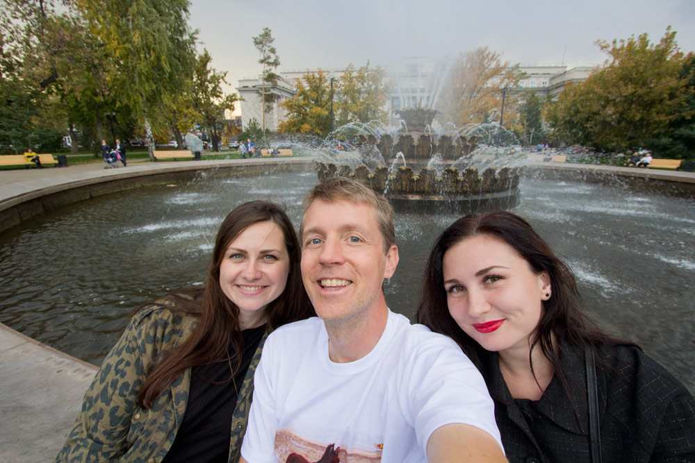 Irina, me, and Anastasia checking out downtown Orenburg in Russia!