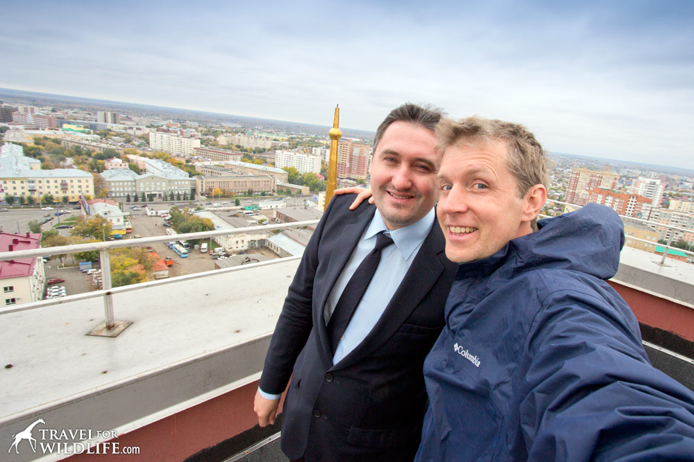 Hal Brindley and Oleg Kikotovo on the roof of the Library at Orenburg University, Russia