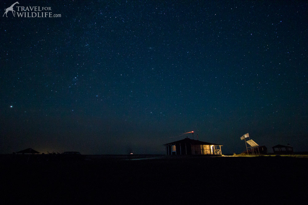 Ranger house at night under the stars at the Orenburg Reserve, Russia