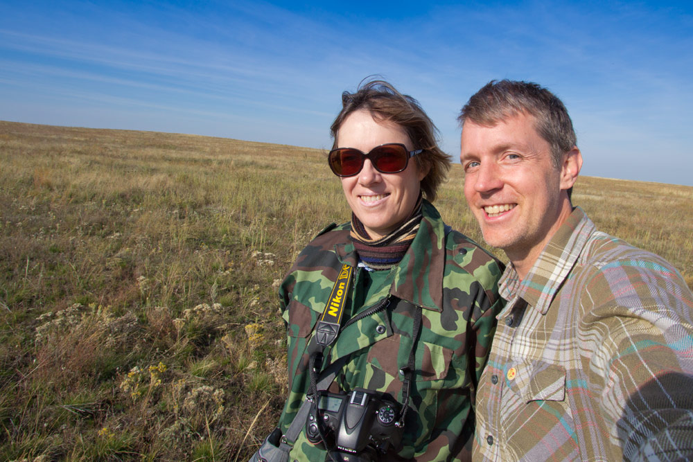 Tatjana Zharkikh, director of reintroduction of Przewalski's Horses in Preduralskaya steppe, and Hal Brindley