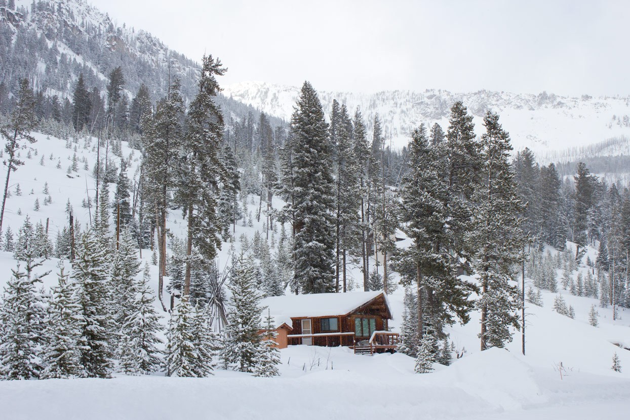 A cabin just outside Yellowstone in the winter
