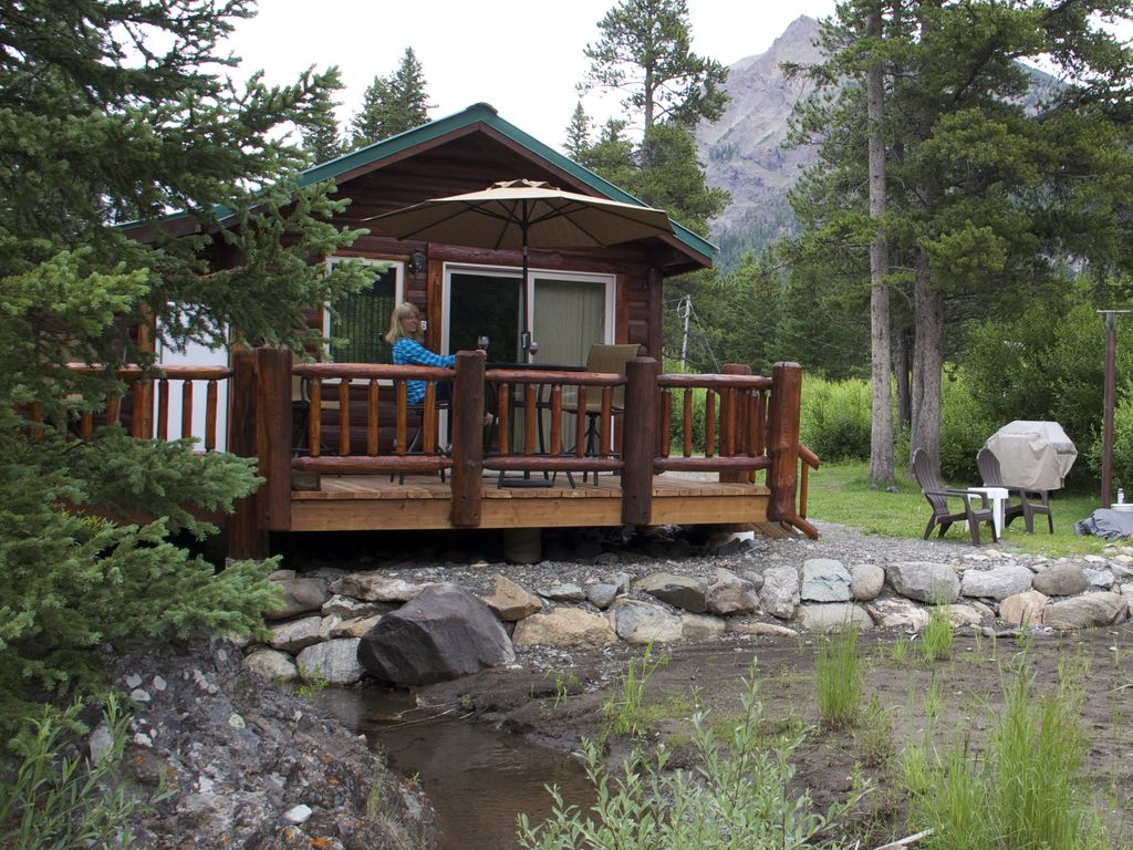 Yellowstone cabins by a creek