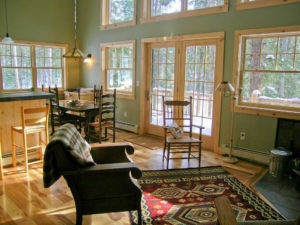 interior of the log cabin living room