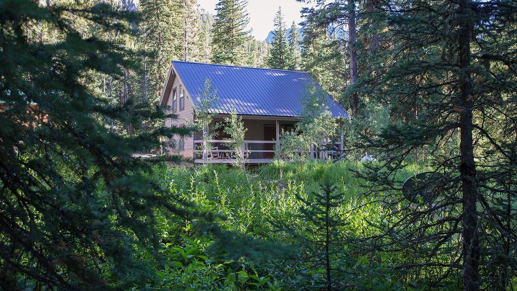 A cabin for rental in Yellowstone located in the woods