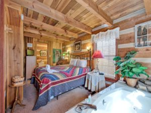 This mountain cabin has a hot tub in the bedroom