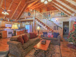 This cabin in Gatlinburg has high ceilings