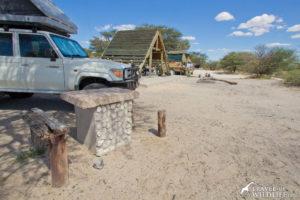Concrete tables at Khiding site 01 KTKHI01 Mabuasehube, Gemsbok National Park, Botswana
