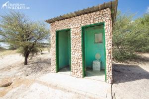 two pit toilets at Khiding 01 campsite, Mabuasehube, Kalahari Desert, Botswana
