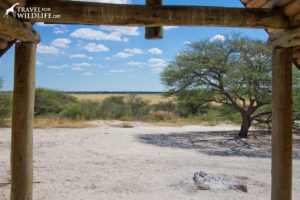 View from A-frame overlooking Khiding Pan, Botswana camping