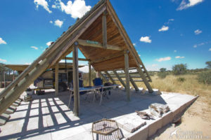 Lesholoago 2 camp site A-frame shelter. Mabuasehube, Kalahari, Botswana
