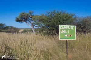 Old sign for Mabua 01 campsite, Kalahari camping in Botswana