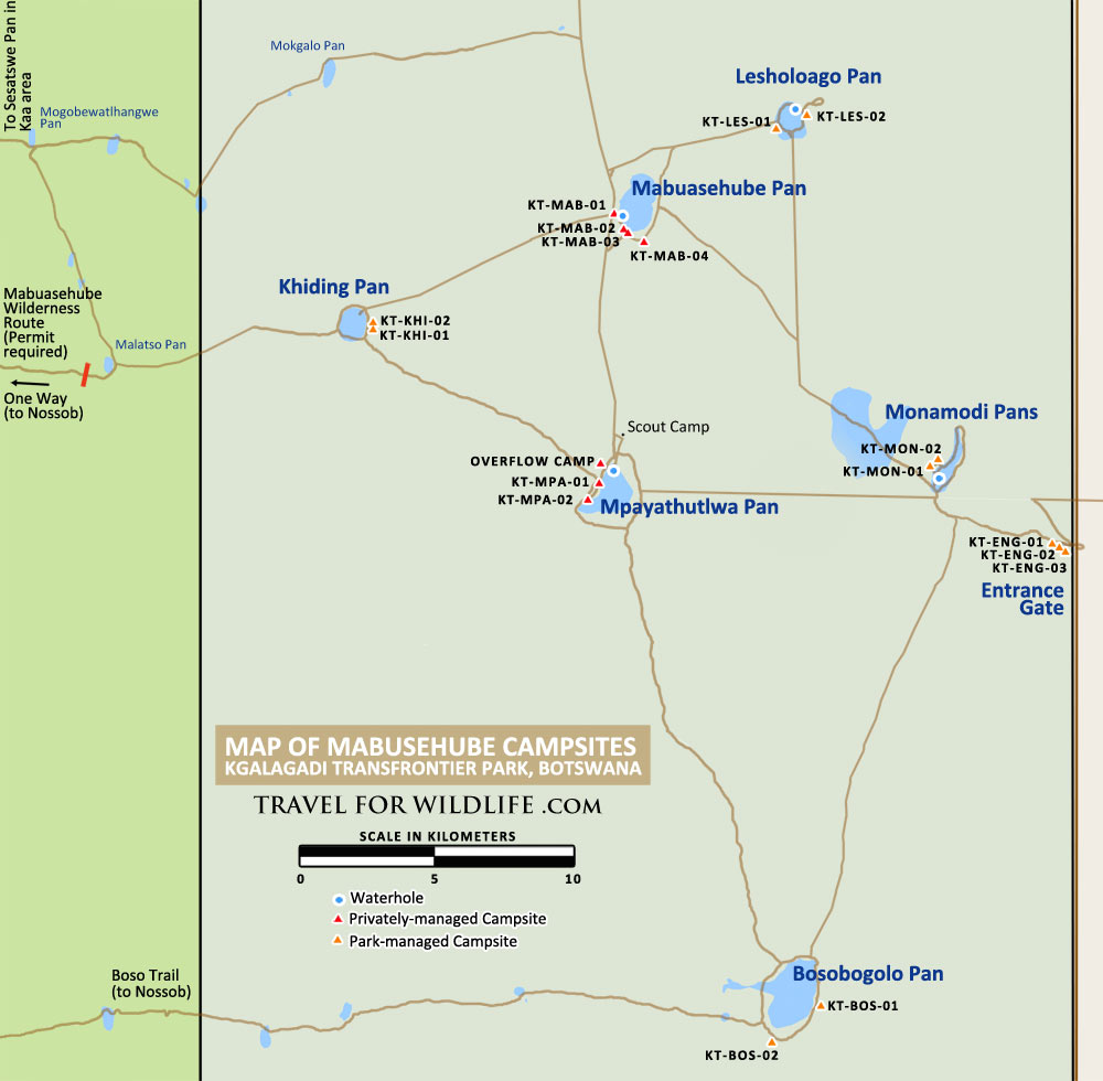 Map of Mabuasehube campsites, Botswana