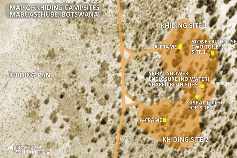 Map of Khiding Pan campsites in Mabuasehube, Kgalagadi Transfrontier Park, Botswana