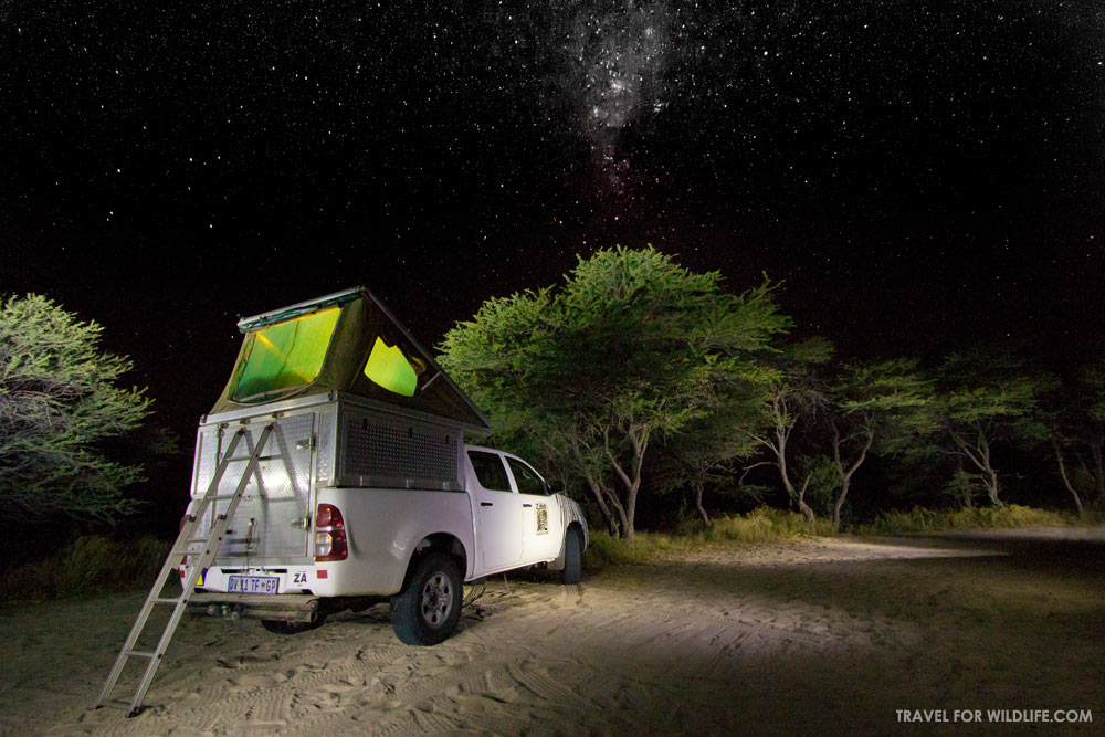 Rooftop tent camping in Botswana