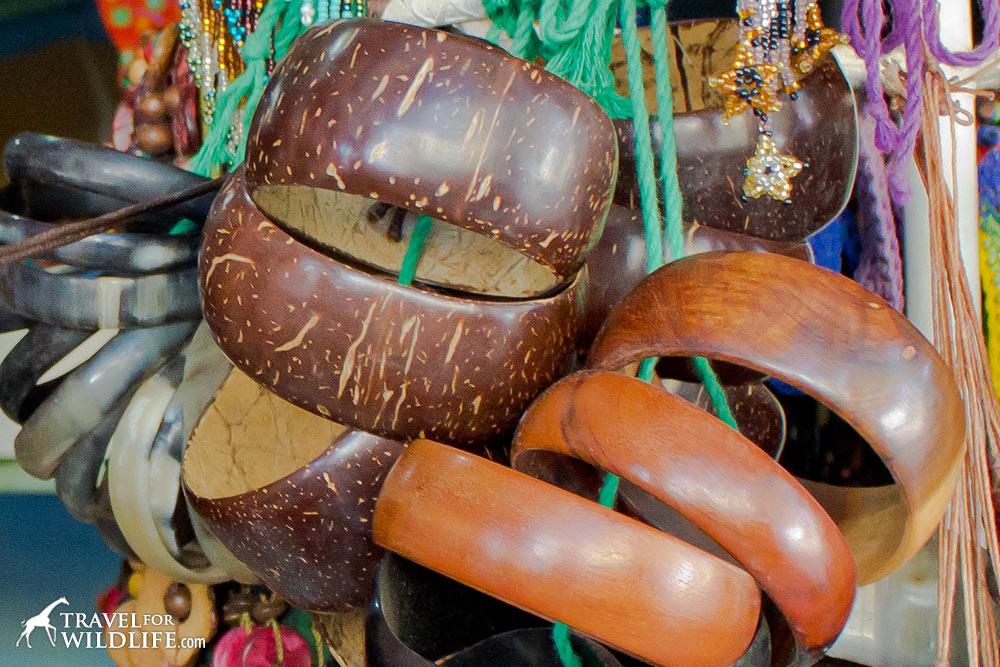 coconut shell bracelets in Central America