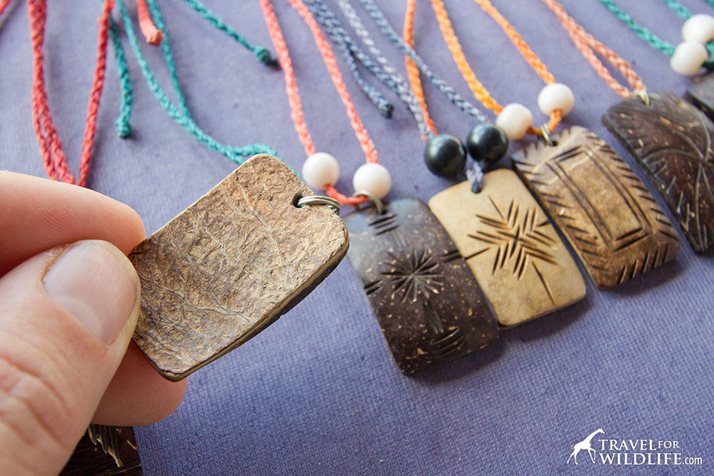 Coconut shell necklaces in Nicaragua