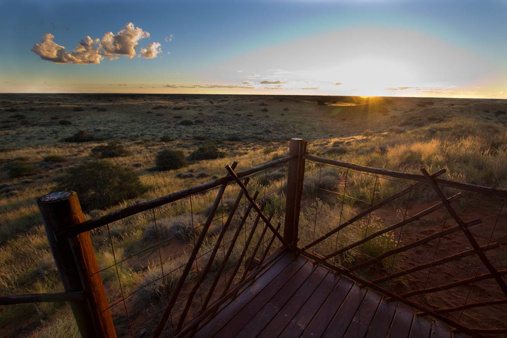 The sun sets in the Kalahari