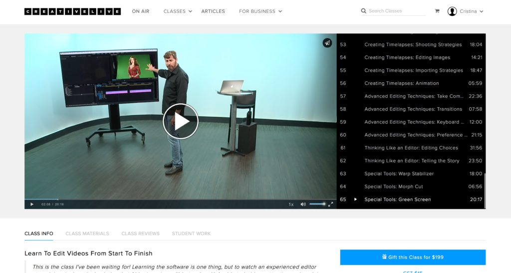 Abba Shapiro teaching how to edit videos with Adobe Premiere Pro tutorials on CreativeLive