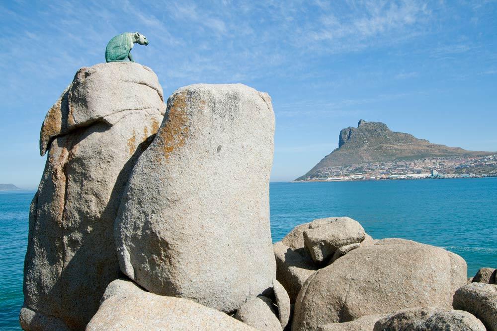 Bronze leopard statue, Hout Bay, Cape Town