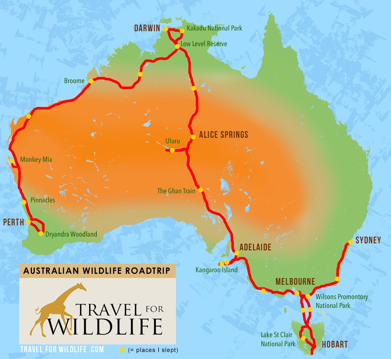 map of Australia roadtrip to see Australian wildlife