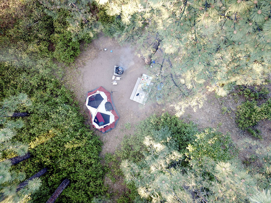 Flying drones over a campsite