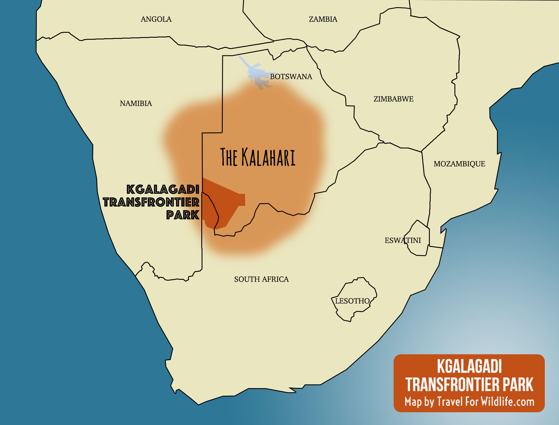 Map showing the location of the Kgalagadi