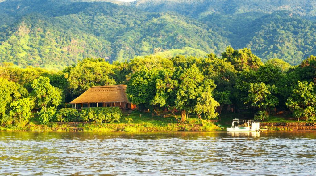 River lodge in the forest