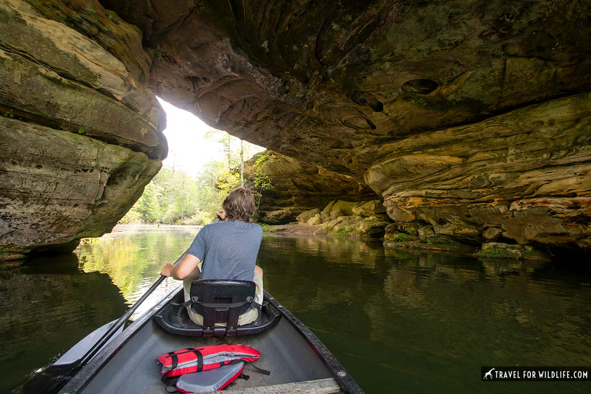 paddling under natural arch in Pickett